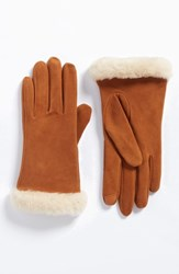 Uggr Women's Ugg Classic Suede Tech Gloves With Genuine Shearling Trim Chestnut