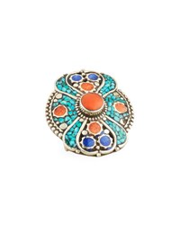 Devon Leigh Turquoise Coral And Lapis Statement Ring