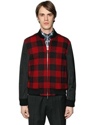 Dsquared Check Wool And Nylon Sleeves Bomber Jacket