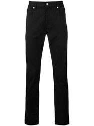Moschino Silver Tone Logo Plaque Trousers Black