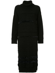 Coohem Solid Tweedy Knit Dress Black