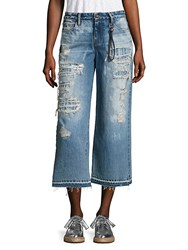 Tortoise Distressed Cropped Wide Leg Jeans Clouded Indigo