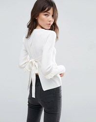 Asos Sweater With Frill Sleeve And Open Back White