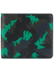 Tomas Maier Camo Palm Wallet Calf Leather Blue