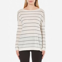 Boss Orange Women's Wendelly Stripe Jumper White