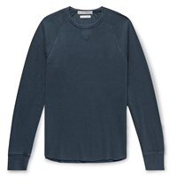 J.Crew Slim Fit Wallace And Barnes Garment Dyed Textured Cotton Sweatshirt Blue