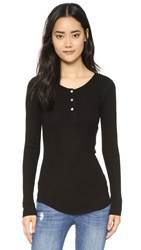Monrow Long Sleeve Henley Shirt Black
