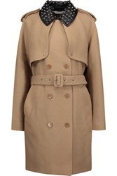 J.W.Anderson Studded Faux Leather Trimmed Wool Blend Twill Trench Coat Camel