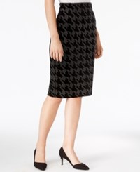 Bar Iii Embellished Houndstooth Pencil Skirt Only At Macy's Deep Black