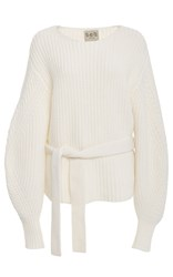 Sea Belted Balloon Sleeve Sweater White