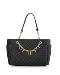 Betsey Johnson Give Me A B Quilted Satchel Bag Black