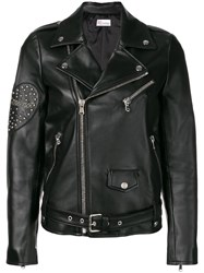 Red Valentino Zipped Fitted Biker Jacket Black