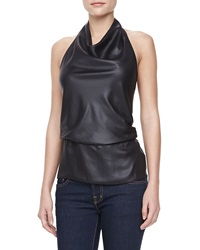 Halston Heritage Draped Neck Halter Top Black