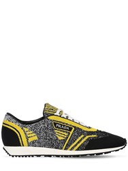 Prada Knit Running Sneakers Black Yellow