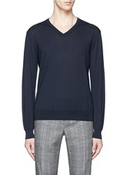 Canali Cashmere V Neck Sweater Blue