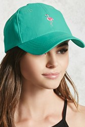 Forever 21 Flamingo Embroidered Dad Cap Teal Pink