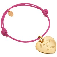 Merci Maman 18Ct Gold Plated Personalised Heart Bracelet Fuschia