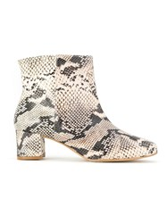 Manolita Animal Print Ankle Boots White