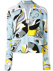 Emilio Pucci Abstract Print Fitted Jacket Blue