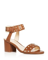 Ivanka Trump Itelonna Studded Ankle Strap Block Heel Sandals Medium Brown