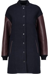 Alexander Wang T By Leather Trimmed Wool Blend Jacket Midnight Blue