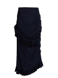 Marni Ruffle Trimmed Ruched Crepe Midi Skirt Navy