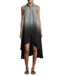 Neiman Marcus Sleeveless High Low Chambray Dress Gray
