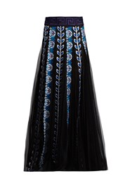 Mary Katrantzou Pillar Embroidered Organza Maxi Skirt Black Blue