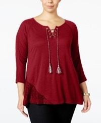 Styleandco. Style Co. Plus Size Lace Trim Peasant Top Only At Macy's New Red Amore