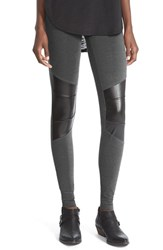 Junior Women's Sun And Shadow Leggings With Faux Leather Trim Grey Medium Charcoal Heather