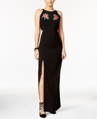Material Girl Applique Side Slit Maxi Dress Only At Macy's Caviar Black