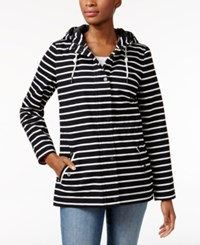 Charter Club Striped Utility Jacket Only At Macy's Deep Black Combo