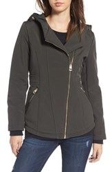 Guess Women's Asymmetrical Soft Shell Coat Olive