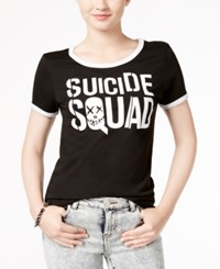 Bioworld Juniors' Suicide Squad Graphic Ringer T Shirt Black