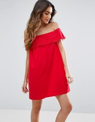 Asos Off Shoulder Sundress With Lace Detail Red