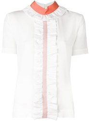 Fendi Ruffled Trim Top White