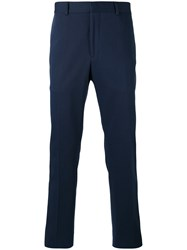 Fendi Embroidered Face Tailored Trousers Blue