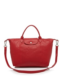 Longchamp Satchel Le Pliage Cuir Medium Cherry