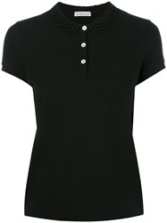 Moncler Cut Out Collar Polo Shirt Black