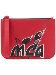 Mcq By Alexander Mcqueen Printed Clutch Bag Red