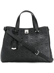 Mcm Textured Tote Bag With Strap Black