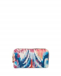 Neiman Marcus Faux Leather Ikat Print Cosmetic Travel Case Navy