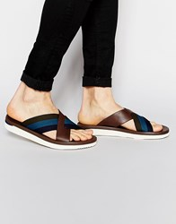 Paul Smith Jeans Gain Cross Over Sandals Brown