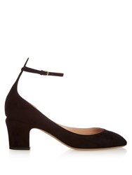 Valentino Tan Go Block Heel Suede Pumps Black