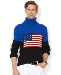 Polo Ralph Lauren Flag Turtleneck Sweater Black W Flag Jersey
