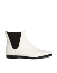 London Rebel Flat Pointed Chelsea Boots White