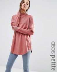 Asos Petite Tunic With High Neck In Cashmere Mix Rose Pink