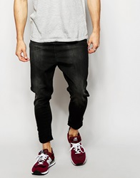 Asos Spray On Drop Crotch Jeans Washedblack