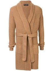 Dolce And Gabbana Cashmere Long Length Cardigan Brown