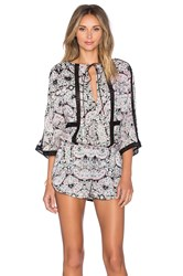 Twelfth St. By Cynthia Vincent Lace Inset Romper Pink